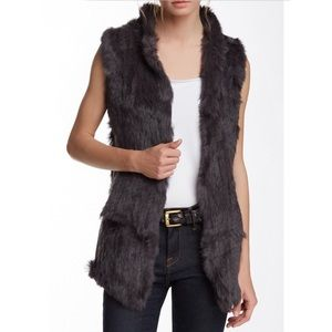 Love Token Rabbit Fur Vest in Charcoal